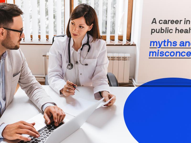 Public health professionals discussing public health programs.